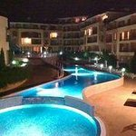 Lower pool at night