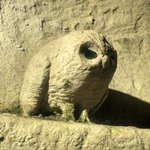 Carved tufa owl in the cellars