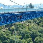 茨城県常陸太田市の竜神大吊橋からのバンジージャンプ