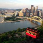 Classic photo of Pittsburgh skyline and three rivers with Duquesne incline from Mt. Washington w