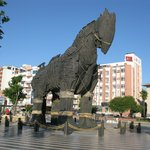 Wooden horse in square