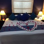 welcome bedroom at Lembeh for our honeymoon