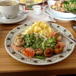 Veggie Platter with Boiled Potatoes covered with Hollandaise Sauce