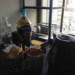Coffee, tea, bottled water, and mini-fridge
