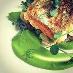Hake with fresh peas, broad bean & girolles fricasee, pea puree