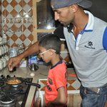 Khalid and Anir cooking Dinner :)