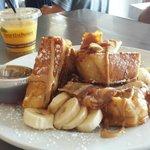 Peanut butter bacon banana french toast
