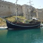 Fort and ship in harbour.