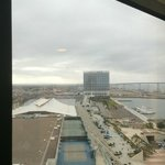 View of Convention Center from window next to elevator