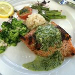 Grilled, herbed, Atlantic salmon
