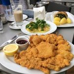 Enormous Wiener Schnitzel and Spinach Sheep Cheese Strudel