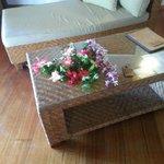 Blomster på bordet da vi kom
