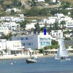 Hotel et sa plage vu du Tango Mar