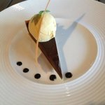 Choc tart with clotted cream ice cream