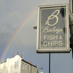 The double rainbow outside of Bailey's Fish & Chips