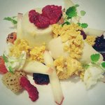Mugwort panna cotta, peach, blow torched raspberries and honey combed