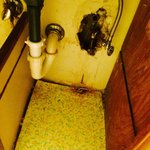 Underneath the bathroom sink