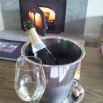 Welcome champers and fireplace