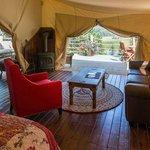 Luxury safari tent interior at Siwash Lake Ranch