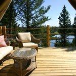 View from luxury safari tent at Siwash Lake Ranch