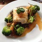 Fillet of Cod,citrus lentils,green veg, shellfish & lemongrass bisque