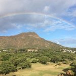 we were greeted by a view of a rainbow over diamond head
