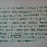 Carta escrita por um dos sobreviventes ao Chileno  que os viu do outro lado lado do rio , ela fo