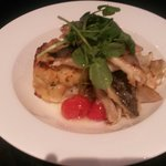 Sea Bass with Fennel tomato and crushed new potatoes
