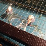 Sharp broken glass on a display