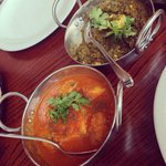 Potato curry & paneer with spinach curry