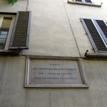 Michaelangelo's Plaque down the alley from Hotel.