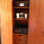 2nd closet with safe, ice bucket & glasses, & complimentary shoe shine