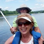 Two of the three of us in one canoe