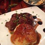 Steak with yummy potato thing!