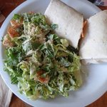 Canoe wrap with mushrooms and ceasar salad