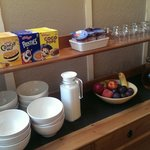 Cereal and juice bar at Waves