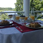 Breakfast on the patio overlooking the Rappahannock
