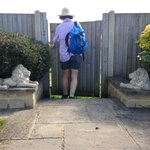 Pam's garden gate, abutting the Cotswold Way. Sorry it's my backside; it's the only one I've got