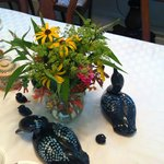 Centerpiece on the breakfast table.  The women who own the inn and decorated it love loons (as d