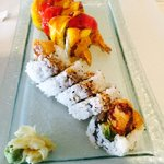 Deep fried Paradise Roll...Mango and Eel sauce on top. Really good... And Spider Roll..
