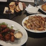 Hushpuppies, Ham Poutine, Cheese & Chacourterie, Fried Green Tomatoes