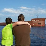 watching the Mesabi Miner going into harbor