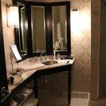 Vanity in the bathroom.