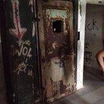 Elevator shaft where a homeless man & his dog were found murdered.