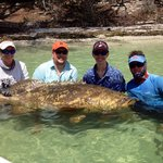 15yr old son catches nice 200+lb Goliath