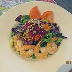 Room service Emerald Salad with Poached Shrimp