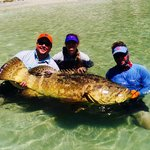 12yr old daughter catches 150lb Goliath