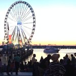 The National Harbor waterfront has many shops and restaurants.