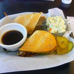 Beef Steak sandwich w/ Au Jus & potato salad