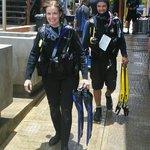 Walking to my first dive with Norman behind me